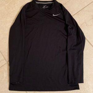 Nike boys Dri-Fit long sleeve shirt, black, small